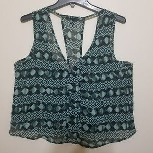 Cropped Forever 21 Tribal Print top Sz L